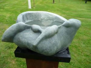 vogelbad serpentijn sculptuur 2013